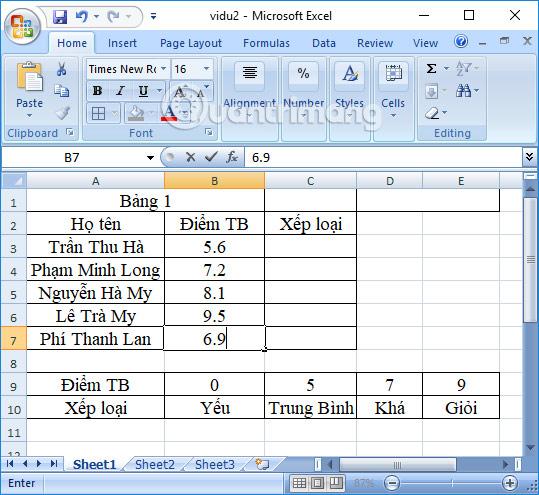 Bảng dữ liệu Excel