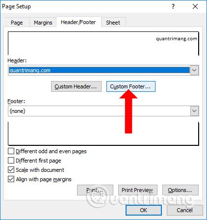 Chọn vị trí chèn số trang Excel