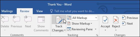 Từ tab Review, hãy nhấp chọn mục Track Changes