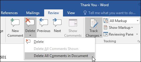 Nhấp chọnDelete All Comments in Document để xóa toàn bộ nhận xét