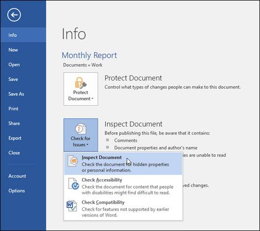 Nhấp chọn Inspect Document từ trình đơn thả xuống