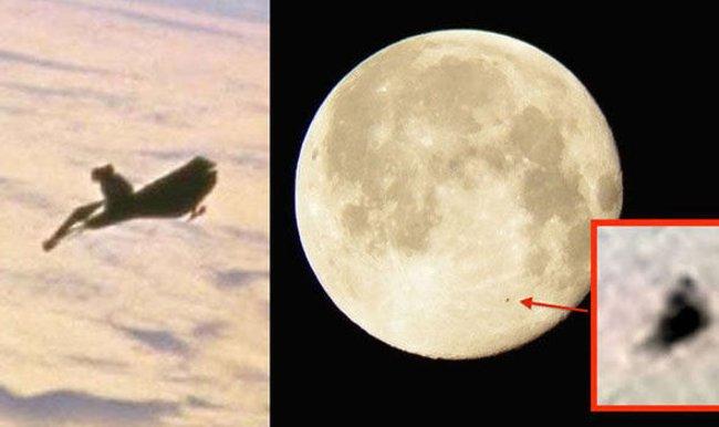 Hình ảnh NASA năm 1998 (bên trái) và một vật thể Black Knight đã bị cáo buộc trước đó trên Mặt trăng vào tháng 7 năm 2015.