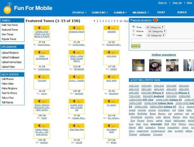 Trang web tải nhạc chuông Fun For Mobile