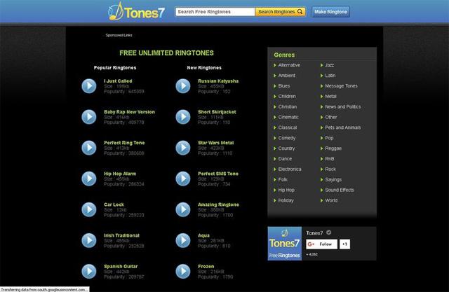 Trang web tải nhạc chuông Tones7