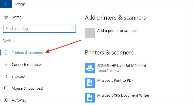 Nhấn chọn Printers and Scanners