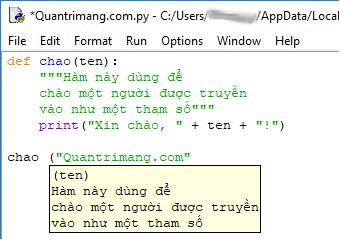 Gọi hàm trong code