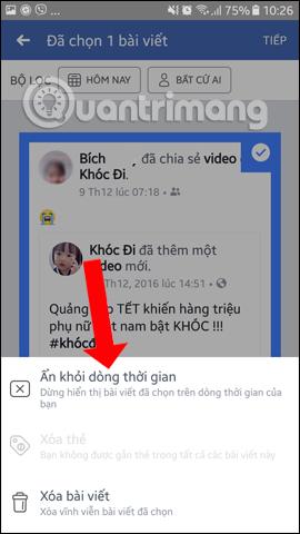 Tùy chọn xóa bài đăng Facebook