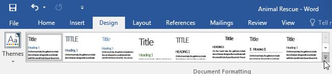 Từ tab Design (Thiết kế), hãy nhấp vào mũi tên More thả xuống trong nhóm Document Formatting