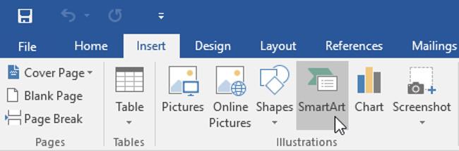 Từ tab Insert (Chèn), chọn lệnh SmartArt trong nhóm Illustrations (Minh họa).