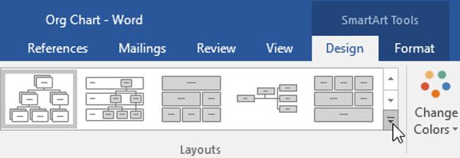Từ tab Design (thiết kế), hãy nhấp vào mũi tên thả xuống More trong nhóm Layouts.
