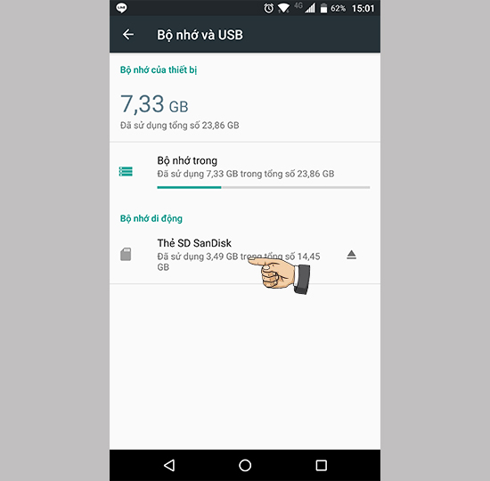 Cách dùng thẻ nhớ làm bộ nhớ trong trên Android 6.0.