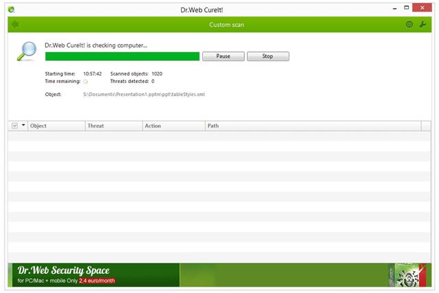 Phần mềm chống spyware Dr.Web CureIt!