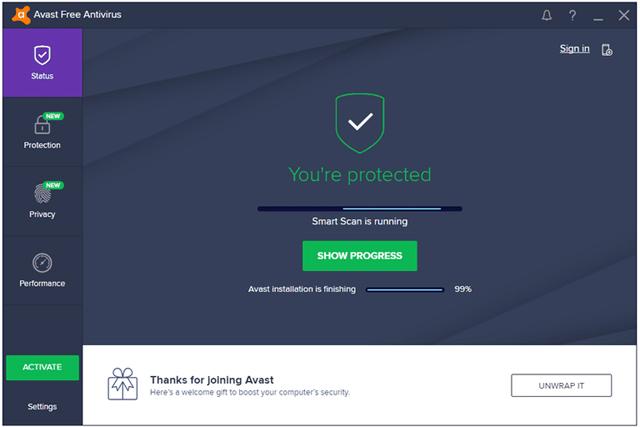 Phần mềm chống spyware Avast Free Antivirus