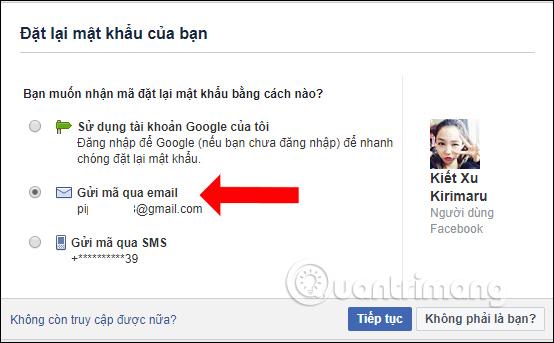 Lấy lại Facebook qua Email đăng ký Facebook