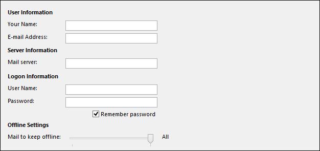 Điền thông tin tài khoản để sử dụng trong Outlook