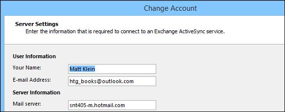 Cài đặt tài khoản cho tài khoản Outlook.com