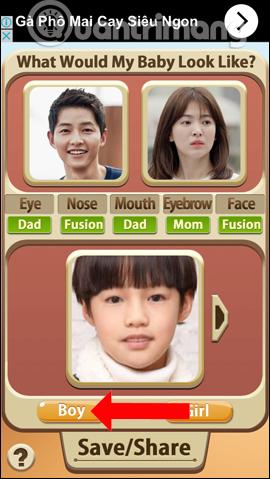 Xem khuôn mặt con trai