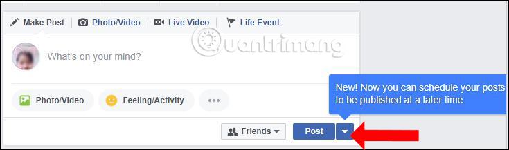 Thêm nút hẹn giờ bài đăng Facebook