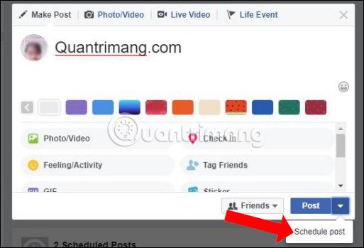 Đặt lịch đăng status Facebok