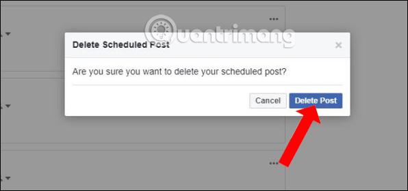 Đồng ý xóa bài đăng Facebook lên lịch
