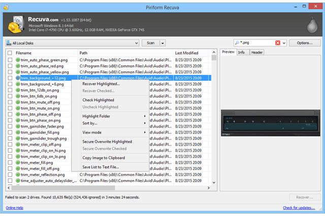 Phần mềm khôi phục dữ liệuRecuva