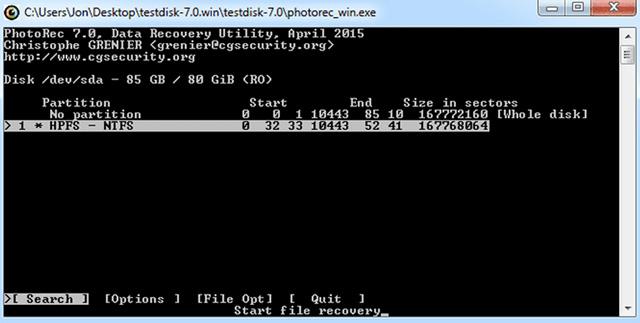 Phần mềm khôi phục dữ liệu PhotoRec