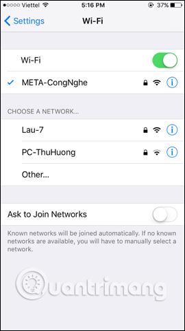 Thay đổi kết nối WiFi
