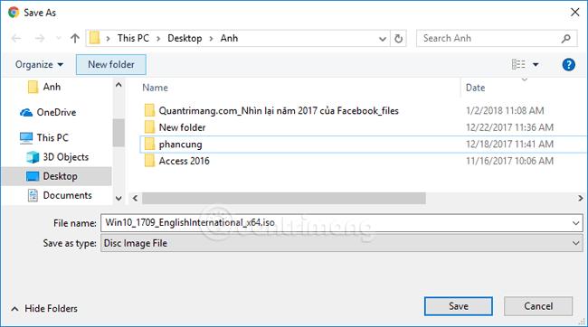 Chọn thư mục lưu file ISO Windows 10