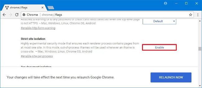 Cách bật tính năng cô lập Chrome sử dụng flags