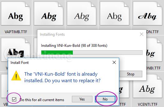 Bỏ chọn cài font đã có trên máy