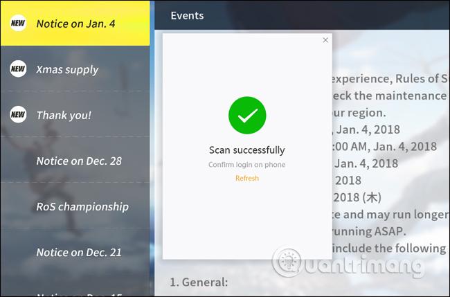 Thông báo mật mã thành công