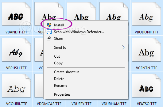 Chọn tất cả các font muốn cài