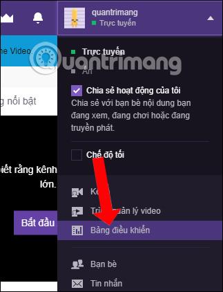 Bảng điểu khiển trên Twitch