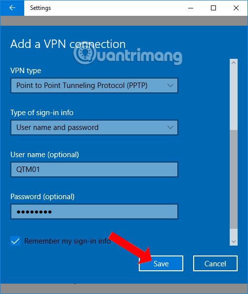 Thiết lập cho mạng VPN