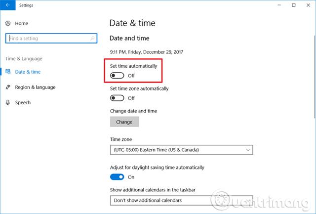 Vô hiệu hóa Set time automatically