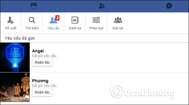 Danh sách kết bạn Facebook đã gửi
