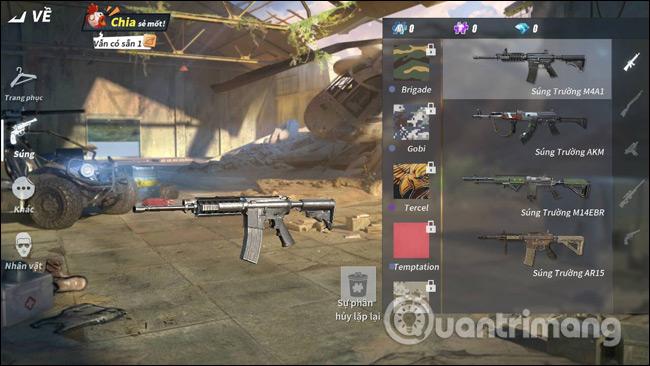 Giao diện vũ khí trong game