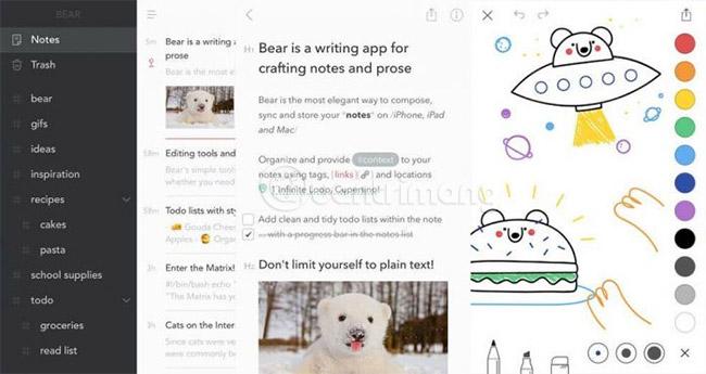 Giao diện Bear trên iPhone
