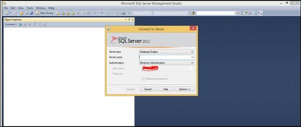 Giao diện MS SQL Server Management Studio khi mở lên