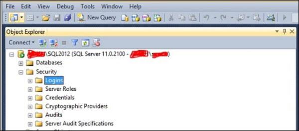 Mở thư mục Logins trên SQL Server Management Studio