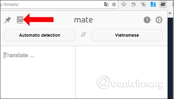 Mở sách từ điển trên Mate Translate