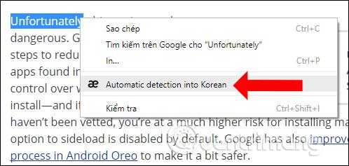 Dịch từ bằng menu chuột phải