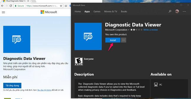 Tải ứng dụng Diagnostic Data Viewer về máy tính