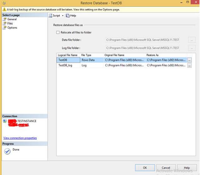 Thông tin các file cho quá trình khôi phục CSDL