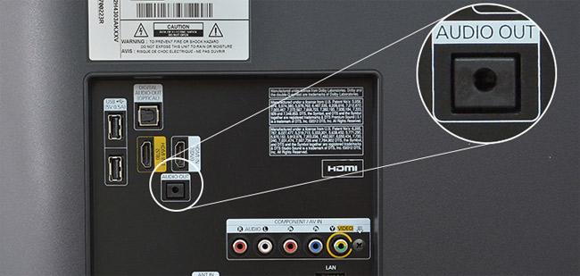 Kết nối loa với tivi bằng jack âm thanh trắng - đỏ.