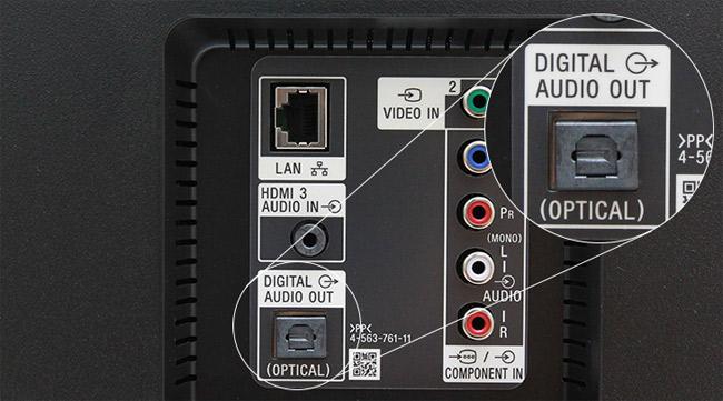 Kết nối loa với tivi qua cổng Optical.