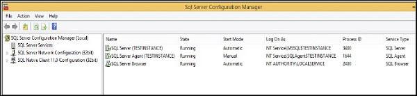 Khởi động thành công dịch vụ trong MS SQL Server