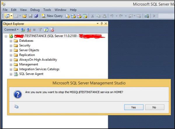Hộp thoại khi chọn Stop bản cài SQL Server