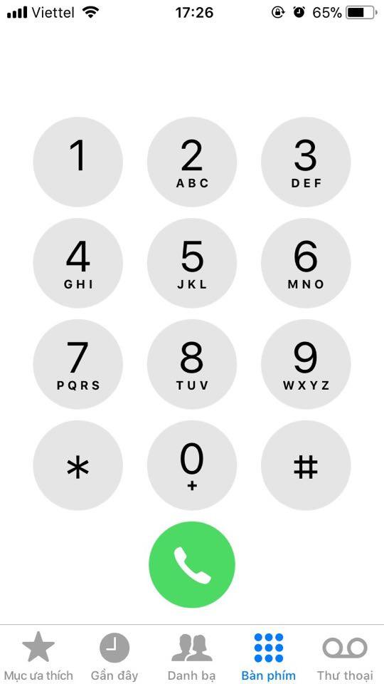 Đầu tiêu mở ứng dụng Phone trên iPhone