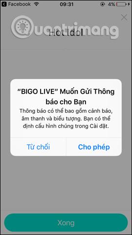 Nhận thông báo của Bigo Live